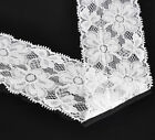 "10 Yards White Stretch Floral Lace Edge Trim 2-1/8"" wide"