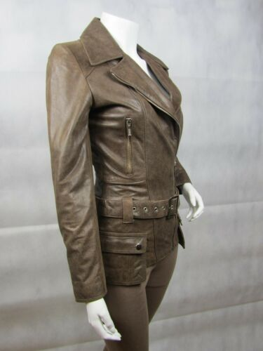 Brown VECCHIO LOOK NAPA LEATHER Slim Stretto Aderente Giacca Biker Moto