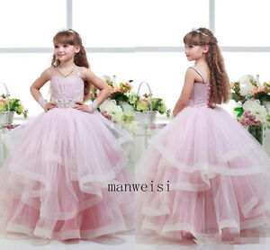 Pink Tulle Flower Girl Dresses Custom Lace Up Birthday Party Formal Ball Gown