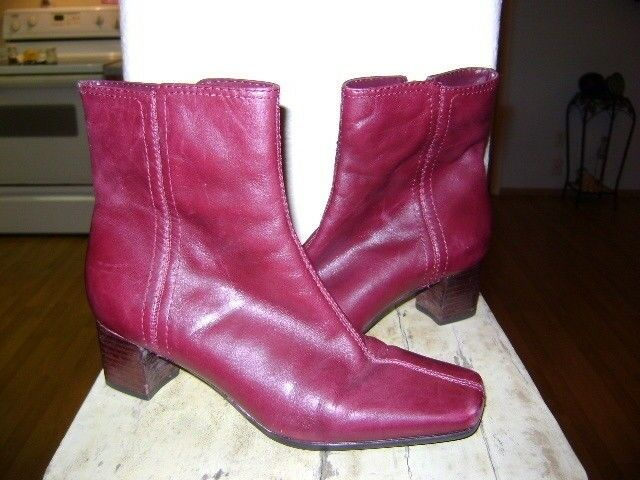 Nine West 6M Red fashion Boots Mid Calf Red Leather Zip Up