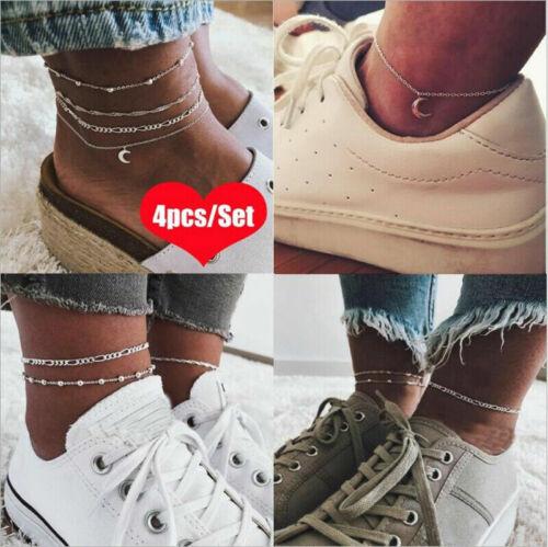 4pcs Silver Ankle Bracelet Women Anklet Adjustable Chain Foot Beach Jewelry