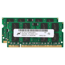 100%For Micron 8GB 2x4GB PC2-6400 DDR2 800Mhz 200Pin CL6 So-Dimm Laptop Memory