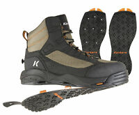 Size 8 Korkers Greenback Wading Fishing Boot Studded + Kling-on Rubber 2 Soles