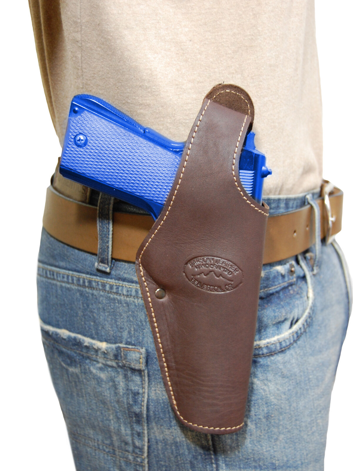New Barsony Brown Leather Belt OWB Holster for CZ, EAA Full Size 9mm 40 45