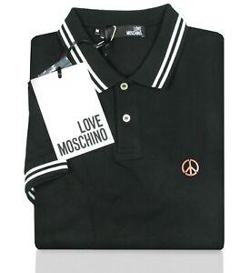 the best attitude 92b3c 4a211 Details zu LOVE MOSCHINO Herren Poloshirt schwarz Piqué-Baumwolle Stretch  Peace Polo Shirt