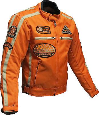 Mens Orange Cordura CE Armoured Motorbike Jacket Motorcycle Textile Summer-XL