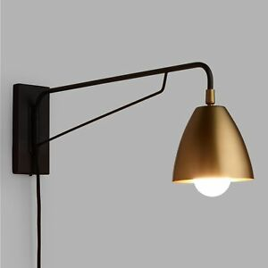 Plug in wall sconce wpivoting swing arm adjustable antique brass image is loading plug in wall sconce w pivoting swing arm aloadofball Gallery