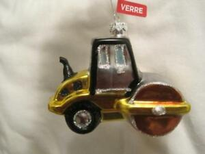 Details About Blown Glass Gold Classic Steamroller Christmas Ornament Construction Nwt