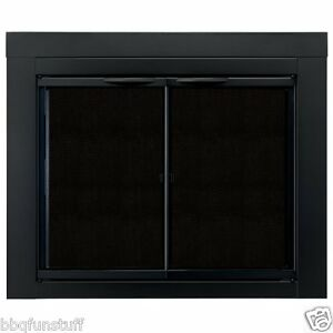 pleasant hearth glass fireplace door alpine black medium an 1011 mesh screens. Black Bedroom Furniture Sets. Home Design Ideas