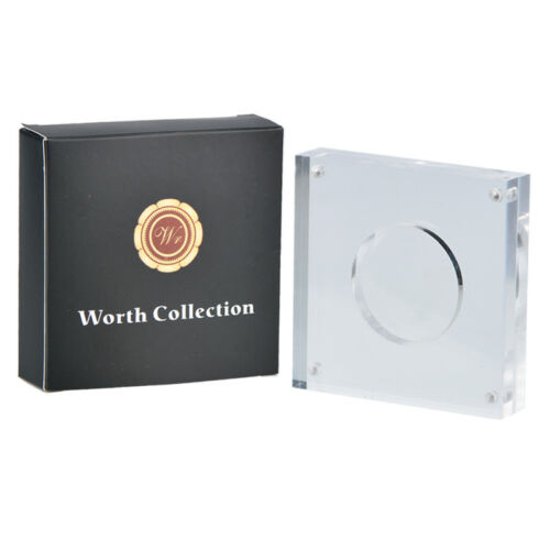 """WR Acrylic Coin Storage Case Transparent Display Holder Single Coin 1.8/"""" //w Box"""