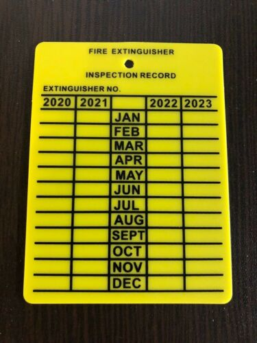50 PLASTIC FIRE EXTINGUISHER 4-YEAR INSPECTION TAGS...2020-2021-2022-2023