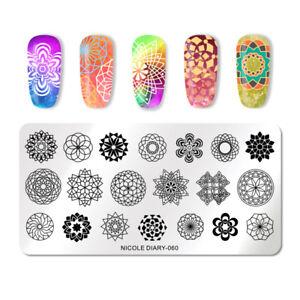 NICOLE-DIARY-Rectangle-Nail-Art-Stamping-Plates-Mandala-Flower-Nail-Stencils-060
