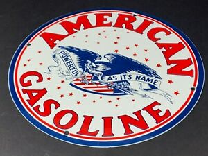 VINTAGE-AMERICAN-GASOLINE-12-034-PORCELAIN-METAL-GAS-amp-OIL-12-034-SIGN-USA-PUMP-PLATE