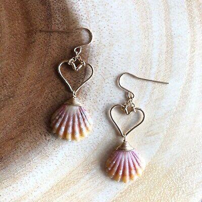 Gold Filled Hawaiian Cone Shell Teardrop Hoop Earrings