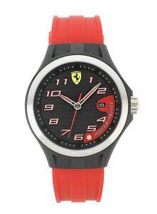 Scuderia-Ferrari-Men-039-s-Lap-Time-Red-Strap-Easy-Read-Dial-Watch