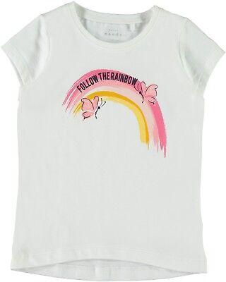 Süß GehäRtet Name It Mädchen T-shirt Gr.92-128 Shirt Kurzarm Weiß Regenbogen Top Neu! Weich Und Leicht
