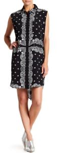 Kendall & Kylie Bandana Silk Dress schwarz XS NWT