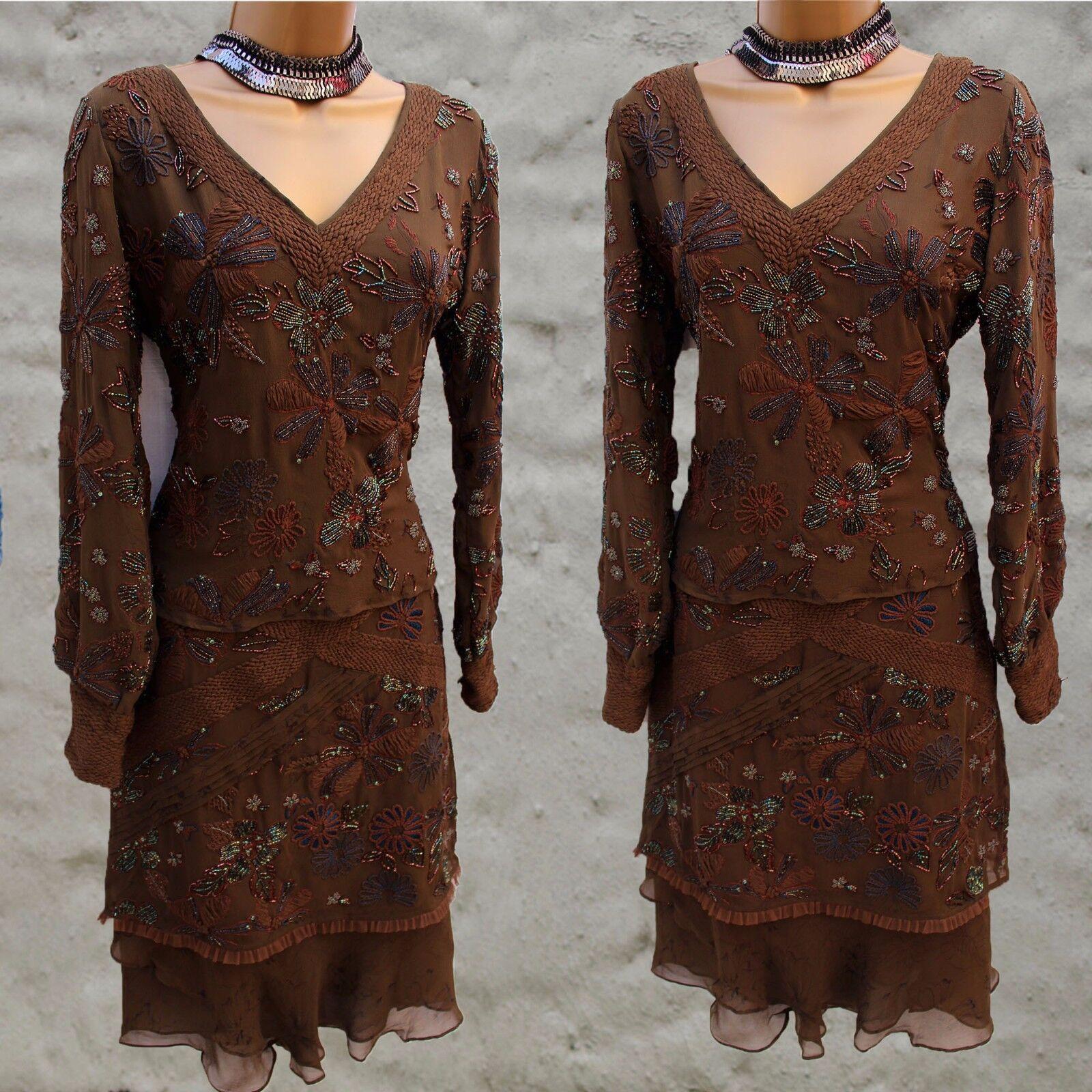 Designer Varun Bahl Hand Beaded Art Deco Boho Skirt and Top Suit Dress
