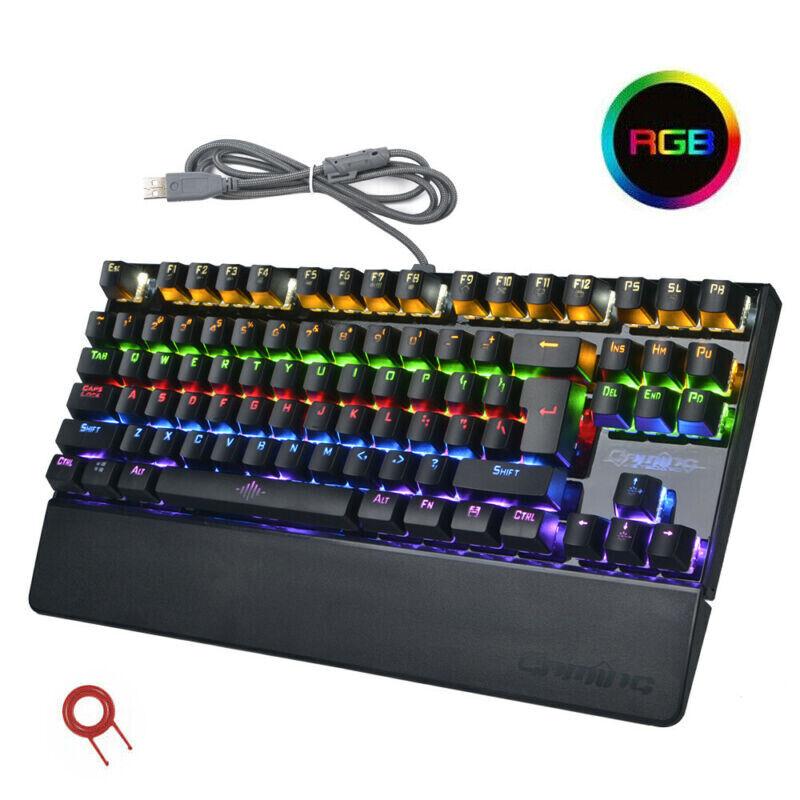 USB Wired 87-Keys Gaming Mechanical Keyboard RGB LED Light Rainbow Backlight UK