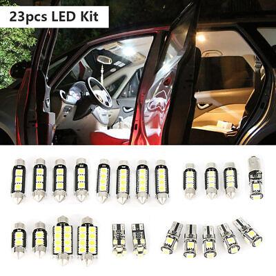 23x LED White Car Inside Light Kit Dome Trunk Mirror License Plate Lamp Bulb New