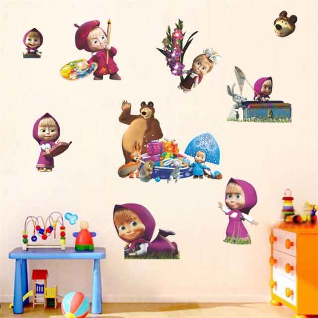 Masha & The Bear Cute Cartoon Sticker Home Decor Wall Suitcase Children Room New