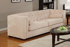Image Is Loading Sleek Almond Beige Micro Velvet Sofa Living Room