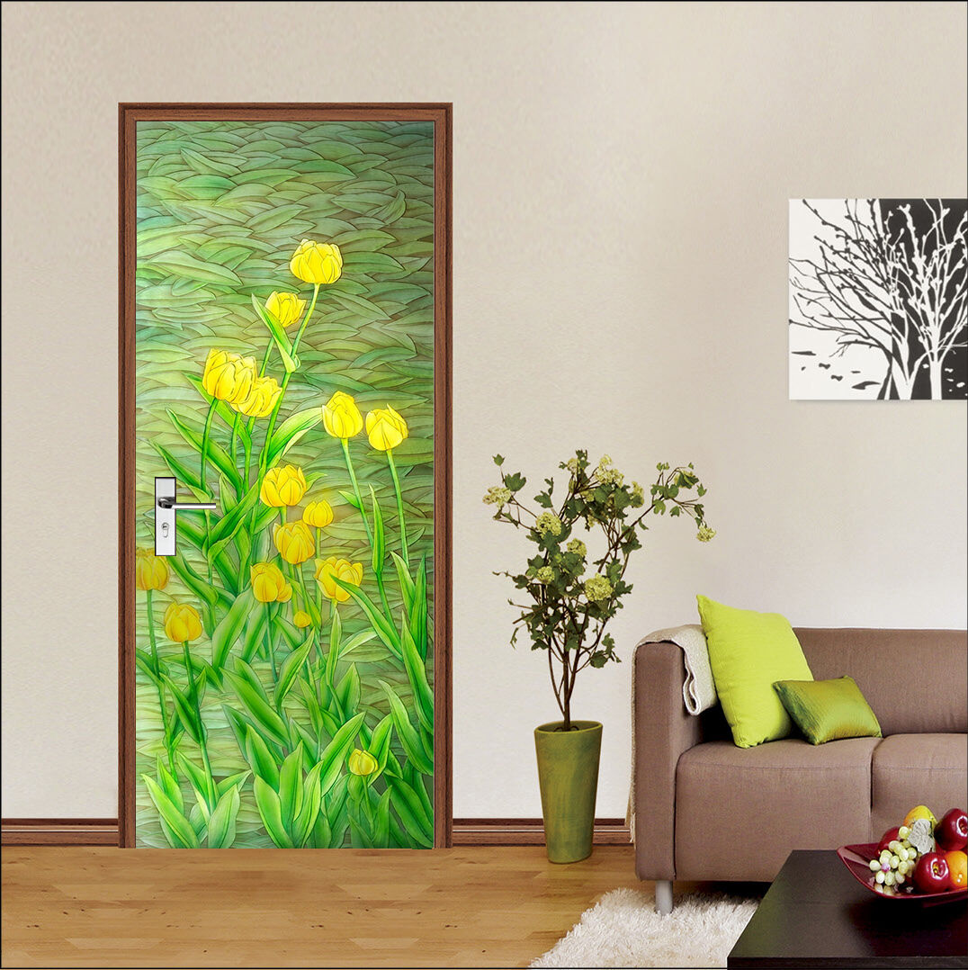 3D Gelb Blumen Tür Mauer Wandgemälde Foto Wandaufkleber AJ WALL DE Lemon
