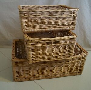 Image Is Loading Buff Willow Wicker Storage Basket Kitchen Small Vegetable