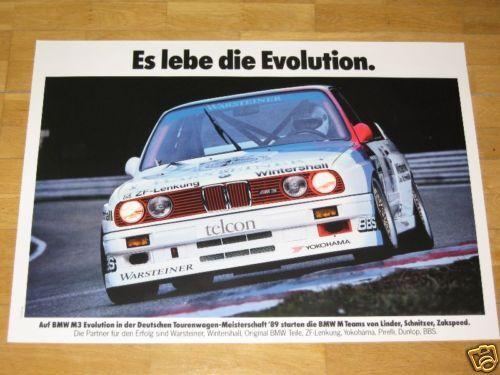 BMW M3 E30 EVO POSTER 13 ORIGINAL VINTAGE in MINT LONG LIVE EVOLUTION