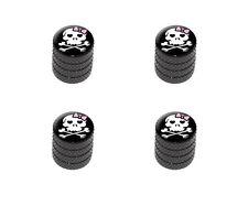 Girly Skull And Crossbones - Tire Rim Wheel Valve Stem Caps - Black