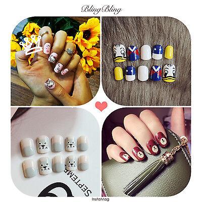 24pcs Spuer Cute Artificial Frech Fashion Style Fake False nail tip sticker glue