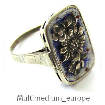 Begeistert Art Deco Ring Silber 830 Emaille Blumen Tracht En Silver Ring Enamel Flower 30er Diversifiziert In Der Verpackung