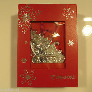 WATERFORD 2014 Silver Christmas Tree Ornament Sleigh With ...