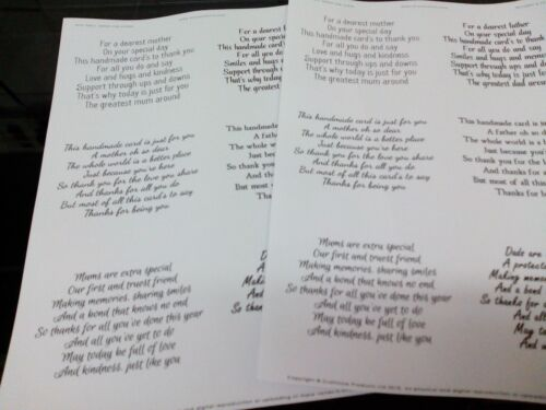 2 X A4 TRANSPARENT EASY PEEL OFF VERSES STICKERS CARD MAKING MOTHER FATHER