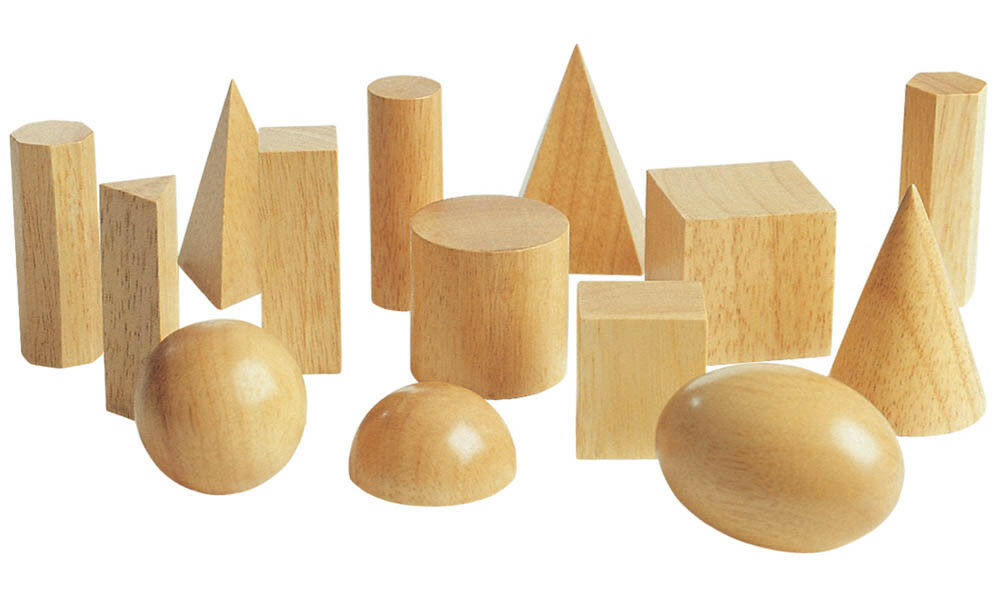 GEOMETRISCHE FORMEN Körper 10 10 10 Stück Holz Montessori Bausteine NEU 1245b3