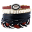 Bijou Punk en cuir tressés Unisexe Perles Bangle Cuff Bracelet Bracelet Set