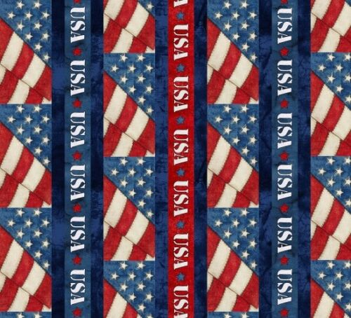 American Honor Patriotic Cotton Quilt Fabric Blank BTY Red White /& Blue USA B