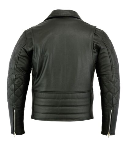 Men/'s Brando Vintage Motorcycle Classic Biker Black Real Leather Jacket Puffed