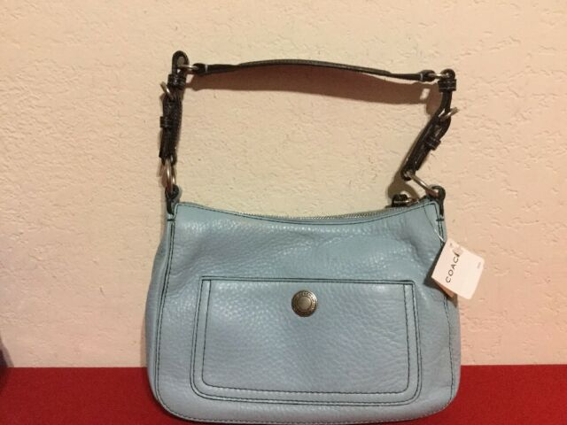 coach chelsea 8e99 powder blue pebbled leather hobo purse handbag rh ebay com