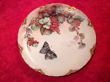Antique Hand Painted Limoges Red Currant Berries & Butterfly Plate, L261