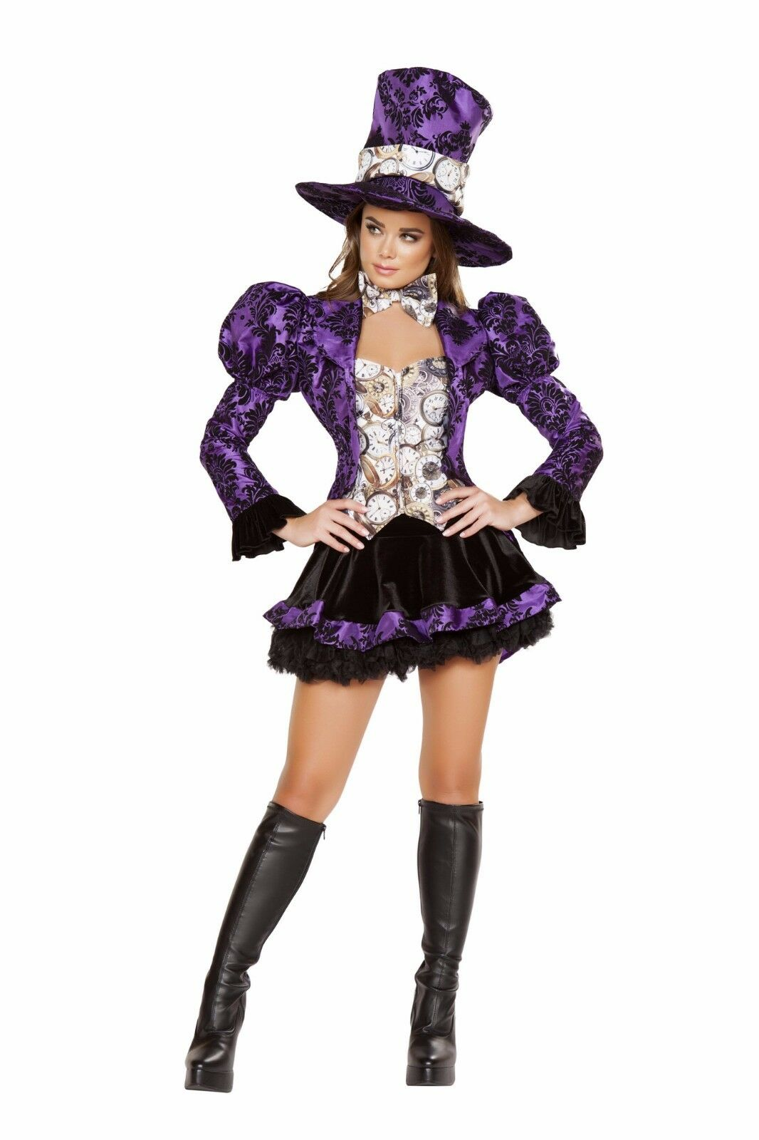 Roma 4pc Tea Party Vixen Mad Hatter Deluxe Black & Purple Costume