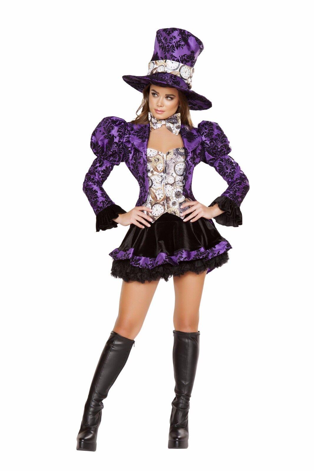 Roma 4pc Tea Party Vixen Mad Hatter Deluxe Black & Purple Costume