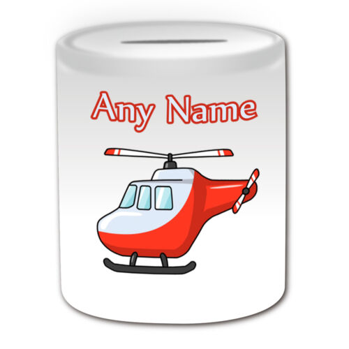 Personalised Gift Helicopter Mug Money Box Aircraft Aviator Pilot Copter Sky Cup