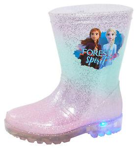 Disneys Frozen Girls Anna /& Elsa Blue//Pink Glitter Wellington Boot-Great Price!