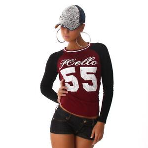 Camiseta-Top-Deportiva-Estampado-Fitness-Ocio-de-Beisbol-Manga-Larga