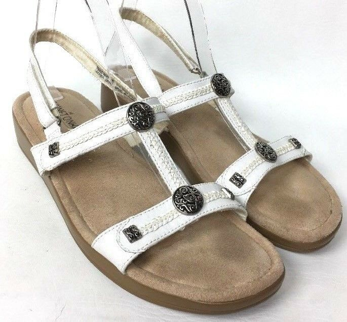 MINNETONKA Strap Tucson White Leather Ankle Strap MINNETONKA Silver Accents Women's Sandals  10 a71de5