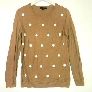 Banana-republic-sweater-tan-white-polka-dots-crew-neck-long-sleeve-size-medium
