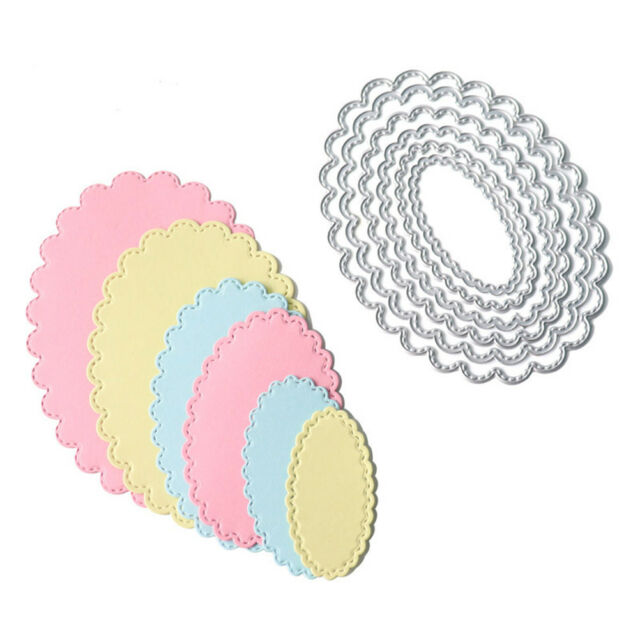 6pcs oval metal cutting dies stencil scrapbook album paper embossing craft LJ