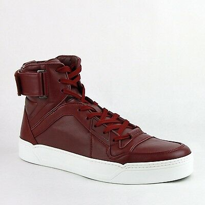 New Gucci Men's Strong Red Leather High Top Sneakers w/Strap 386738 6148