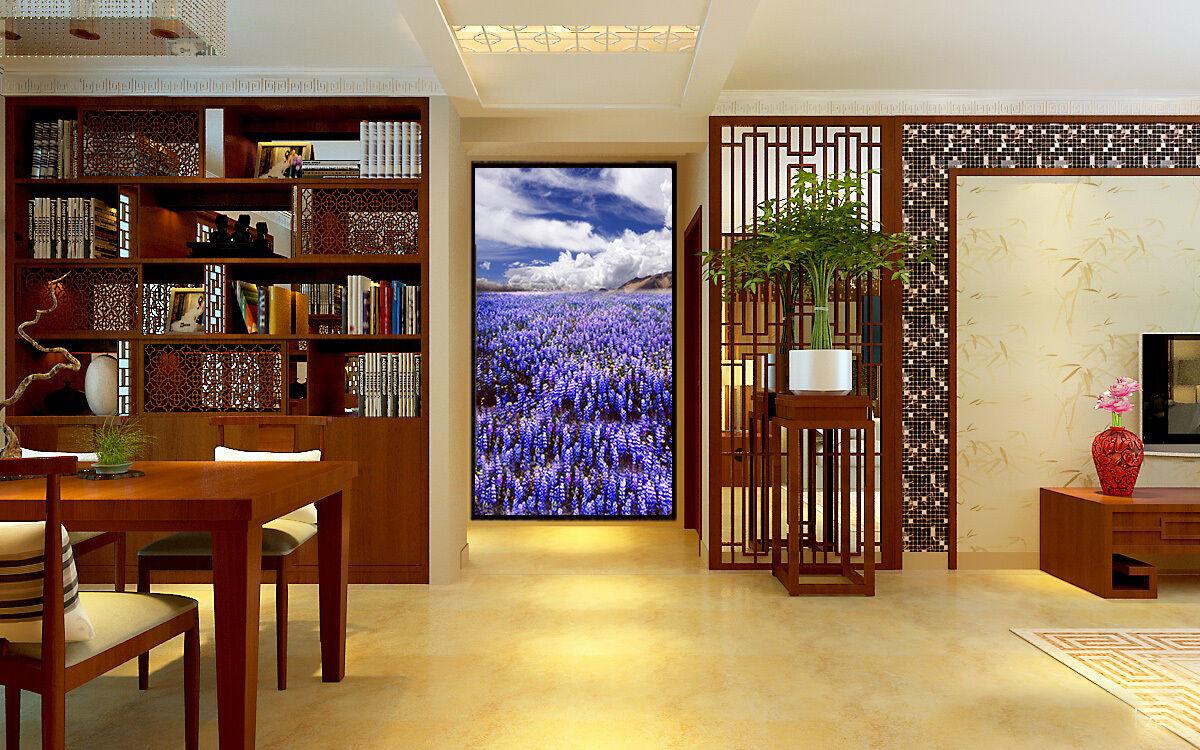 3D Blauer Himmel, lavendel Fototapeten Wandbild Fototapete BildTapete Familie DE